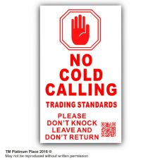 1 x QR Coded-No Cold Callers-Under DOOR BELL,Salesman Calling Warning Sticker-50x87mm-EXTERNAL-Sign